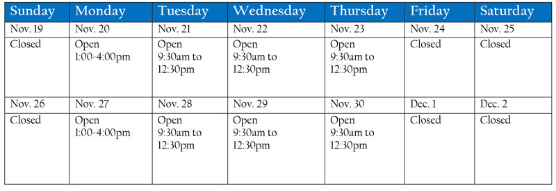 Book Store Hours