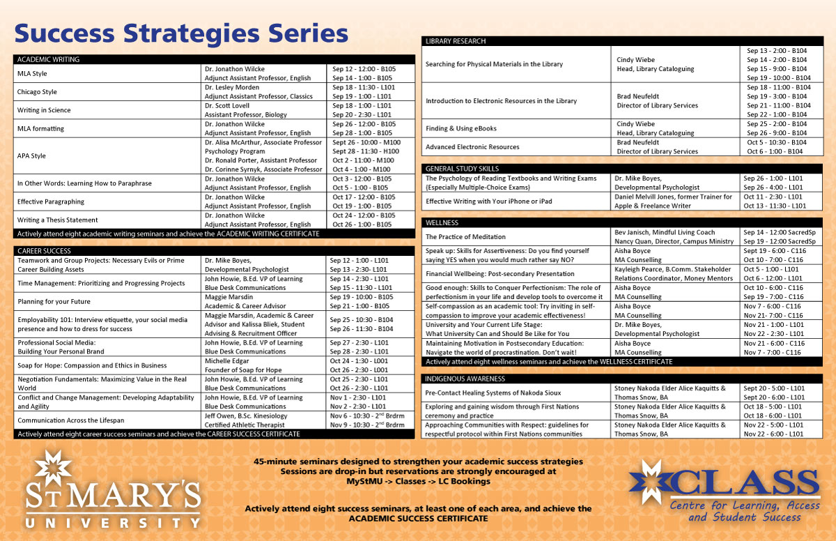 S3 Schedule Fall