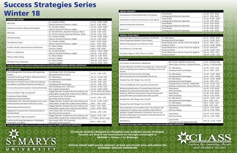 S3 Schedule Winter